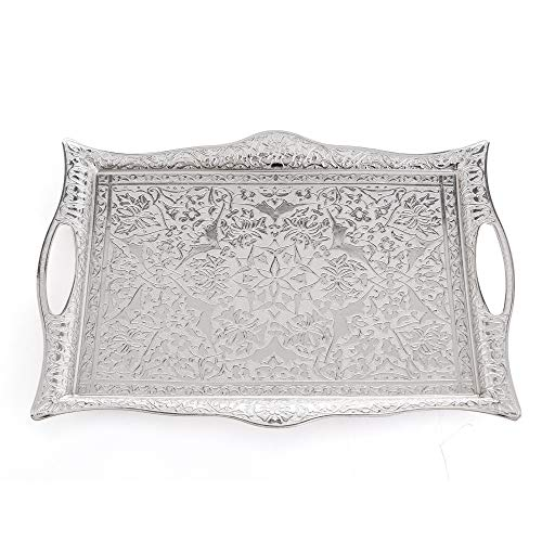 Erbulus Turkish Serving Trays - 1023 x 1417 - Silver Tray Decorative - Table Centerpiece and Kitchen Tea Trays for Serving - Rectangle Silver Platter for Dinner Coffee and Dessert