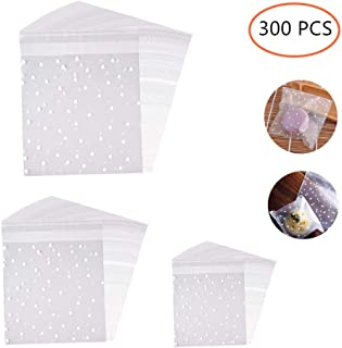 ZIYAN Self Adhesive Treat Bag Cellophane Treat Bags Self-Adhesive Sealing Treat Bags White Polka Dot Treat Bags OPP Plastic Bag for Bakery, Candy, Soap, Cookie(3 Size,300 PCS)