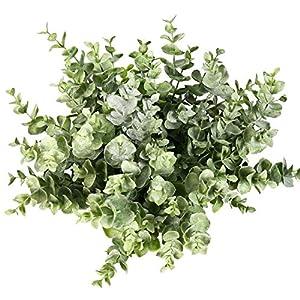 Flojery 4Pcs Artificial Eucalyptus Plant Fake Silver Dollar Eucalyptus Branches Greenery Wedding Jungle Theme Party Home Decor (Green)