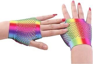 MoreChioce, 6 paia di polsini a rete, da donna, in rete, senza dita, guanti a rete arcobaleno, scaldamani, anni '80, Punk