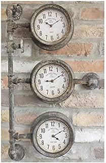 Old Town Clocks Triple horloge avec industrielle tuyauterie Quirky Metal Mural