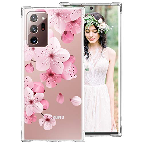iDLike Galaxy Note 20 Ultra Case for Women Girls, Clear Floral Flower Cute Design Hard Plastic Back + Soft TPU Bumper Protective Shockproof Phone Case for Galaxy Note 20 Plus,Pink-Cherry