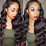 360 Lace Frontal Loose Wave Human Hair Wigs,150% Density Pre-Plucked Hair Line Lace Frontal Virgin Human Hair Wigs with Baby Hair for Black Women (18 Inch)