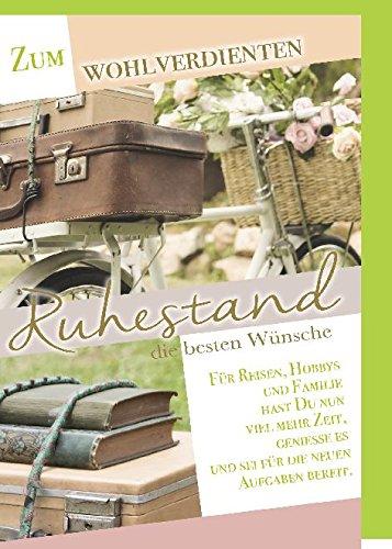 Karte Ruhestand Motiv Aufbruch Fahrrad mit Koffer Bücher und Rosen Strauß im Fahrradkorb - Liefermenge 6 Stück