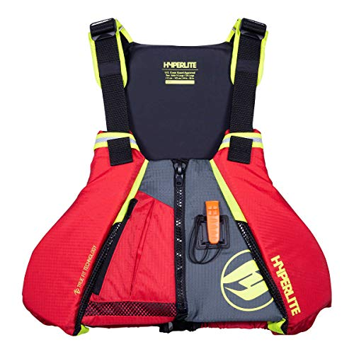 Hyperlite Adult Coast Guard Approved Universal Paddle Vest (Red/Yellow, M/L)