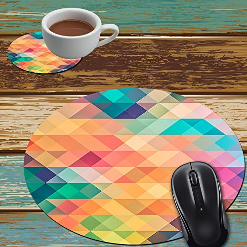 Mouse Pad and Coaster Set, Colorful Geometric Pattern Mouse Pad Round Non-Slip Rubber Mousepad Office Accessories Desk Decor Mouse Mat for Desktops Computer Laptops