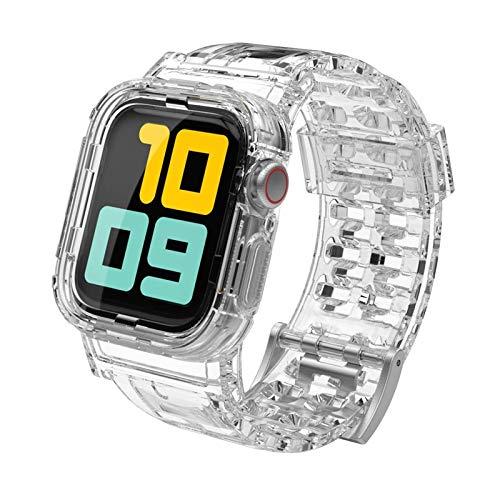 CMXXFA Correa transparente para correa de reloj de 44 mm/42 mm + funda protectora para reloj 6/5/4/3/2/1 (color de la correa: transparente, ancho de la correa: 44 mm)
