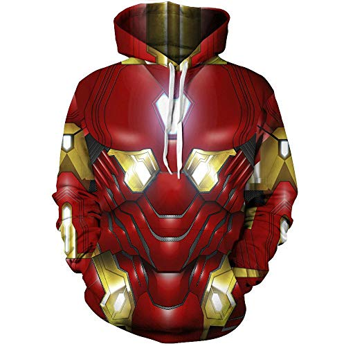 Felpa con cappuccio da uomo con stampa 3D, super eroe Iron Man pullover Cosplay cappotto Colore 01 XXL
