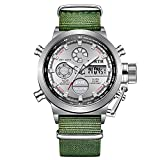 Reloj para hombre, de 42 mm, de alta gama, resistente al agua, luminoso, alarma, calendario, hora mundial, relojes de visualización de la semana para hombres (color: verde 1)