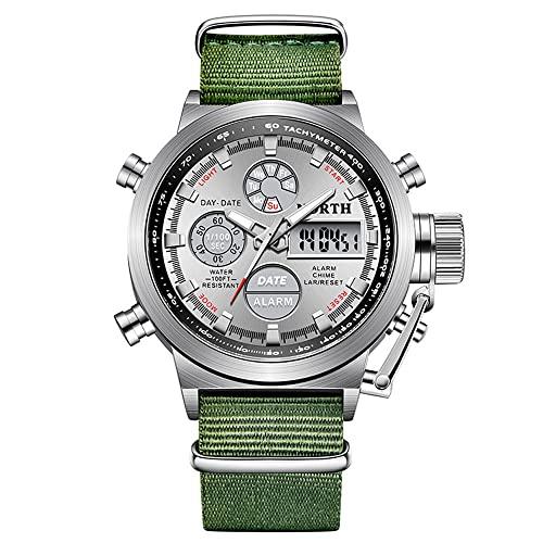Orologio da uomo Il nuovo 42mm High-end alla moda impermeabile sportivo luminoso, sveglia, calendario, ora mondiale, display della settimana orologi per gli uomini (colore: verde 1)