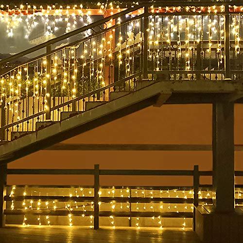 Luces de Cortina LED, Cortina de Luces, Luces de Cortina de Luz Impermeable 5M 8 Modos con a Distancia para Decoración de Navidad, Fiestas, Decoración Ventana