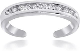Hoops & Loops Sterling Silver Channel Cubic Zirconia CZ Toe Ring