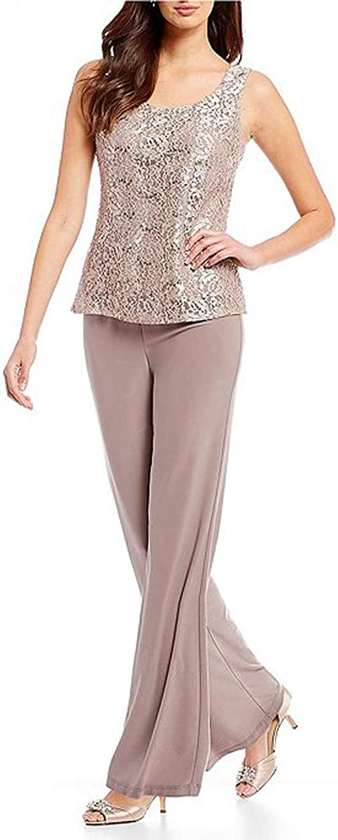 HYC Women's 3 Pieces Mother of The Birde Pant Suits with Lace Jacket Chiffon Pants