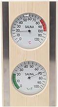 Thermo-hygromètre de Sauna, Flameer Hygromètre 2 en 1 Hygrothermographe en Bois Accessoires de Salle de Sauna avec Cadre e...