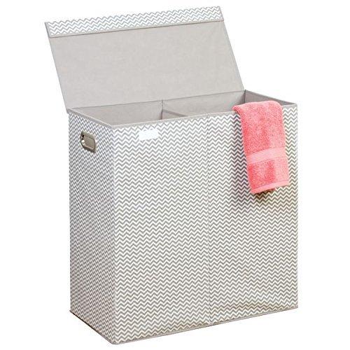 mDesign Wäschekorb mit 2 Fächern – faltbare Wäschetruhe mit Deckel, Griffen und Trenner für Kinderzimmer, Bad oder Schlafzimmer – aus atmungsaktivem Polypropylen – 61x30,5x63,5 – taupe/natur