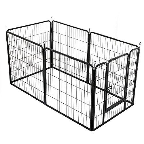 Yaheetech puppy looprooster puppy lounge rek hond rek met deur hek rooster puppy hazen konijn maten/hoogte selecteerbaar, 6-teilig, Höhe 80 cm