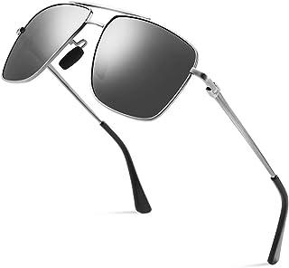 CNLO Men's Polarized Sunglasses Ultra Lightweight Rectangular UV400 Protection Sunglasses For Men (Gunmetal Frame Standard)
