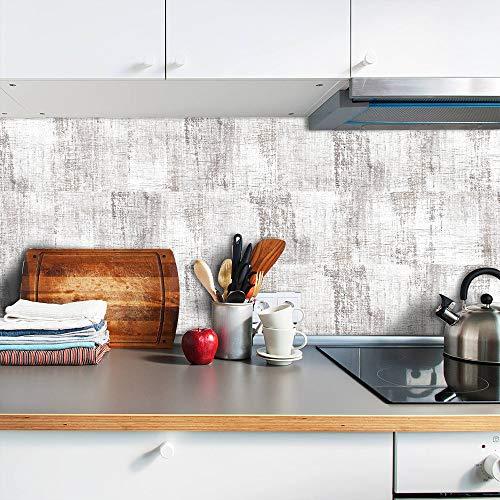WANGXL Pegatina de Pared Impermeable de Grano de Madera Blanca, Grano de Madera de polímero Blanco, Pegatinas Autoadhesivas para Azulejos y decoración de Muebles de Cocina, 20x10cmx27pcs 0.5sqm