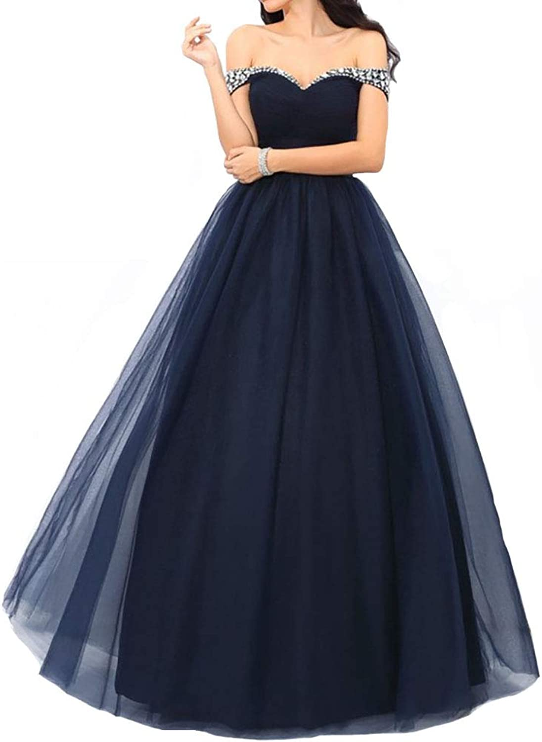 IVYPRECIOUS Off The Shoulder Tulle with Beaded Long Quinceanera Dresses