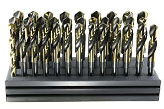 """Drillco 1000C Series 32 Piece Cobalt Steel Reduced Shank Drill Bit Set, Black and Gold Oxide Finish, Round Shank, Spiral Flute, 118 Degrees Split Point, 1/2"""" - 1"""" in 1/64"""" increments w/Stand (B00GR5P5FC)   Amazon price tracker / tracking, Amazon price history charts, Amazon price watches, Amazon price drop alerts"""