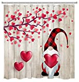 HVEST Loving Heart Valentine's Day Shower Curtain Cute Gnomes Hold Red Heart Shower Curtain Farmhouse Wood Plank Shower Curtains for Bathroom Decor, 72W x 72H Inches Shower Curtain Sets with Hooks