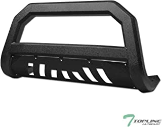 Topline Autopart Textured Black AVT Style Bull Bar Brush Push Front Bumper Grill Grille Guard With Skid Plate For 97-03 Ford F150 / F250 / 04 Heritage / 97-02 Expedition