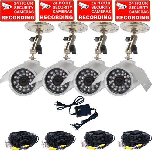 VideoSecu 4 Channel PCI PC DVR Card CCTV Security Camera System, including 4 Day Night Vision Outdoor Infrared CCD Security Cameras, 1 of 4 Channel Camera Power Supply, 4 of 50 Feet Camera Extension Cable 1G5