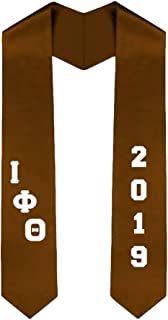 Custom Iota Phi Theta Greek Diagonal Lettered Graduation Sash Stole With Year
