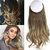 Short Ombre Hair Extensions Halo Wire Sercet Crown Synthetic Wavy Curly Hairpieces For Women Invisible Auburn Burgundy Heat Resistant Fiber 14' 3.8oz SARLA
