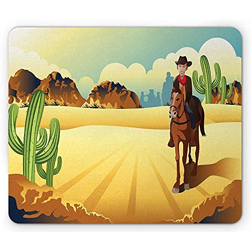 Western Horse Mouse Pad, Country Themed Clipart Cowboy Rijden in de woestijn Wild West, Antislip Rubber Mousepad, 25x30cm Multi kleuren