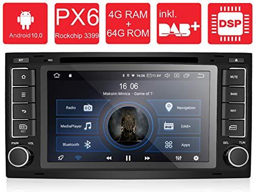 M.I.C. AVTO7 Android 10 Autoradio Radio Navigationssystem:DSP DAB+ Plus Bluetooth 5.0 WLAN 7 Zoll QLED Panzerglas Bildschirm AHD 4G RAM 64G ROM USB sd GPS Tuning Gerät für VW T5,Touareg mit RNS2