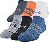 Under Armour Youth Essential Lite No Show Socks, 6-Pairs , Blue/Assorted , Youth Large