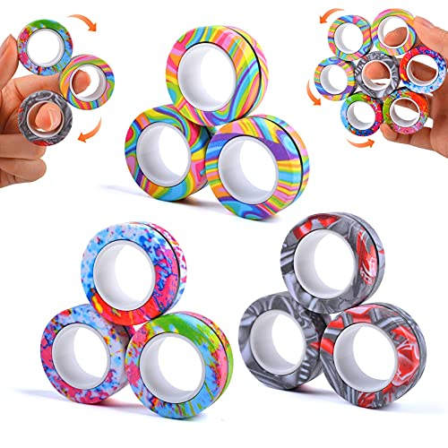 9Pcs Magnetic Ring Fidget Toys, Colorful Finger Rings Toy, Stress Relief Magnetic Rings, ADHD...