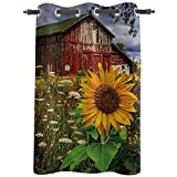 Window Curtains Drapes - 24inch Length Curtain Panels Treatments for Kitchen Living Room Vintage Sunflower Farmhouse , 52' Wide Grommet Top Thermal Insulated Bedroom Darkening Curtain, Rustic Country