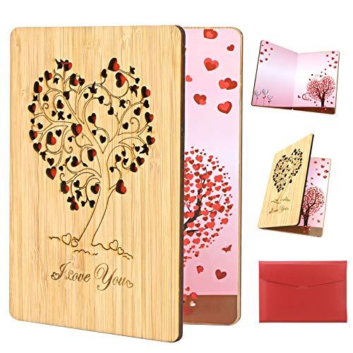HOWAF Amor Tarjeta de Felicitación, Tarjeta de Felicitación de Madera, Tarjeta de San Valentín con Sobres Regalos para Cumpleaños, Bodas, Día de la Madre, San Valentín y Aniversario