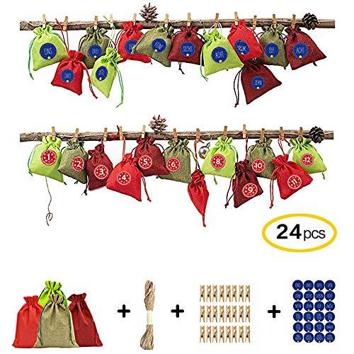 Ameiqa Adventskalender Säckchen,Weihnachtsthema Stofftasche mit Zahlenaufklebern, Juteschnur, 24 Wäscheklammern - zum Herstellen und Füllen
