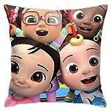 Tengyuntong Co-comelon Nursery Rhy-Mes Soft Square Throw Cover Decorativo para el hogar de Invierno para sofá Sofá Cama Silla 18 X 18
