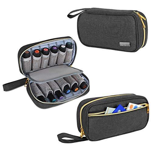 Luxja Ätherische Öle Aufbewahrung Tasche, Ätherische Öl Tasche - Hält 12 Flaschen (5ml-15ml, auch Geeignet für Rollerflaschen), Öle Tasche für Ätherisches Öl und Zubehör, Schwarz