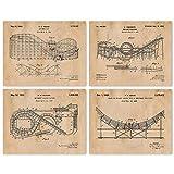 Vintage Roller Coaster Patent Art Poster Prints, Set of 4 (8x10) Unframed Photos, Great Wall Art Decor Gifts Under 20 for Home, Office, Garage, Man Cave, Shop, Student, Teacher, Coach, Theme Park Fan
