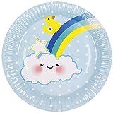 Neu: 6 Party-Teller * Schnuller-Alarm - Blau * für Kindergeburtstag & Geburt | Baby Boy Junge Geburt Kinder Geburtstag Feier Pappteller Partyteller Einweg