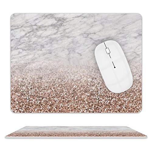 Alfombrilla de ratón de piel sintética de color rosa con purpurina para escritorio y portátil, 25 x 20 x 2 cm
