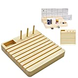 Quilting Wooden Ruler Rack with Spool Holder and Space to Store Pins Tacks Bobbins (7''x7'')