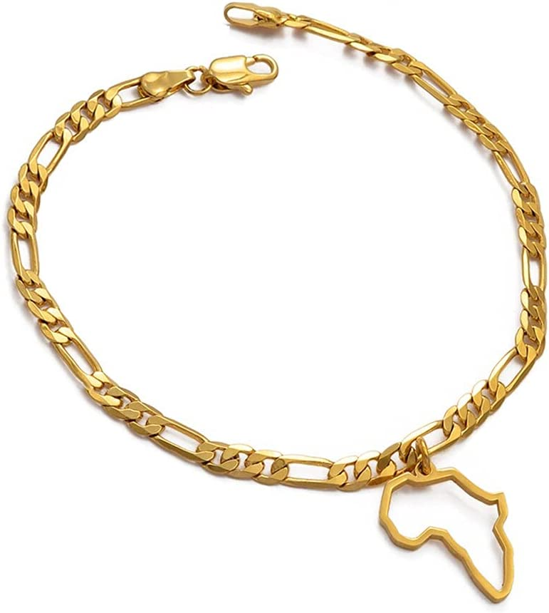 Outline Africa Map Anklet Women Gilrs Foot Chain Jewelry Gold Color Wholesale Jewellery African Map