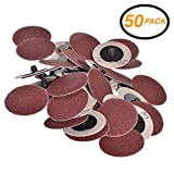 Ram-Pro 2' Inch Dia 120 Grit Professional Roll Lock Style Sanding, Grinding Disc (50-Count)