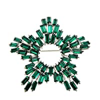 女性のためのラインストーンスターブローチグリーンとローズカラーファッションジュエリー秋のデザインコートアクセサリー良い贈り物