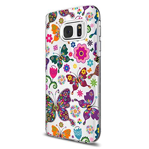 Funda Samsung Galaxy S7 / S7 Edge Silicona TPU Carcasa Multicolor Diverso Flor Hoja Mariposa Patrón Fina Transparente Caucho Suave Estuche Ultra Delgado Anti Golpes Proteccion Caja (4, S7)