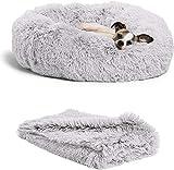 wuudi, letto per gatti, cuscino per cani, set con coperta, 2 pezzi, morbido e caldo letto per animali domestici, coperta per gatti e cani di piccola taglia, grigio chiaro, 50 cm