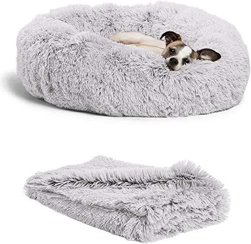 Wuudi Bett für Katze,Hundekissen Flauschig Katzenbett Set mit Decke,Runden Katzenbett Plüsch hundebett 2 Stücke Weich Warm Haustierbett + Haustierdecke für Katzen und Kleine (Hellgrau)