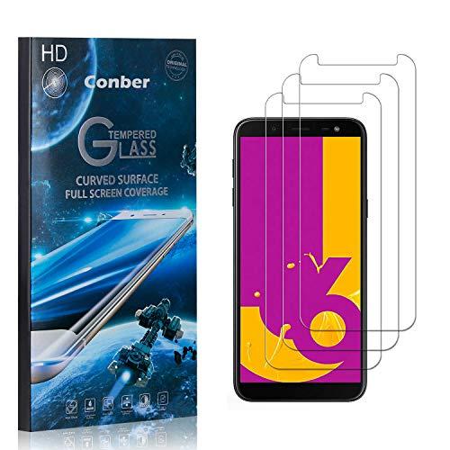 Conber [3 Pièces] Verre Trempé pour Samsung Galaxy J6 2018, [9H Dureté][sans Bulles][Haut Définition] Ultra-résistant Film de Protection écran pour Samsung Galaxy J6 2018