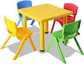 Kids Table and Chair Set Children Plastic Furniture Play Outdoor Yellow 5PC